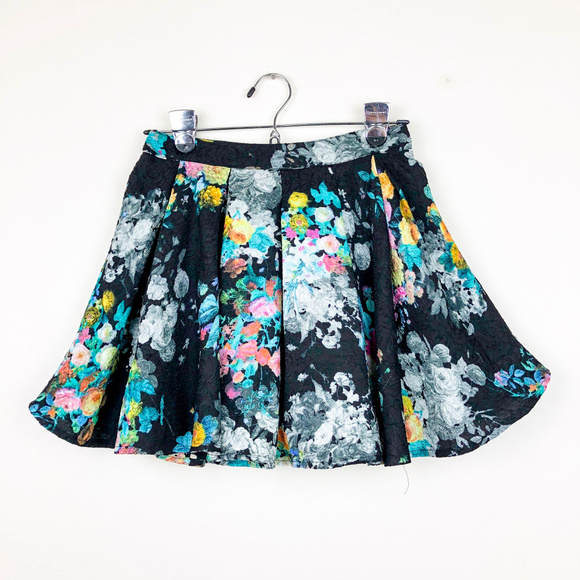 Lush Dresses & Skirts - Lush Black with Colorful Floral Print Skirt